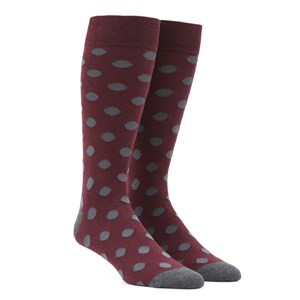 common dots burgundy dress socks