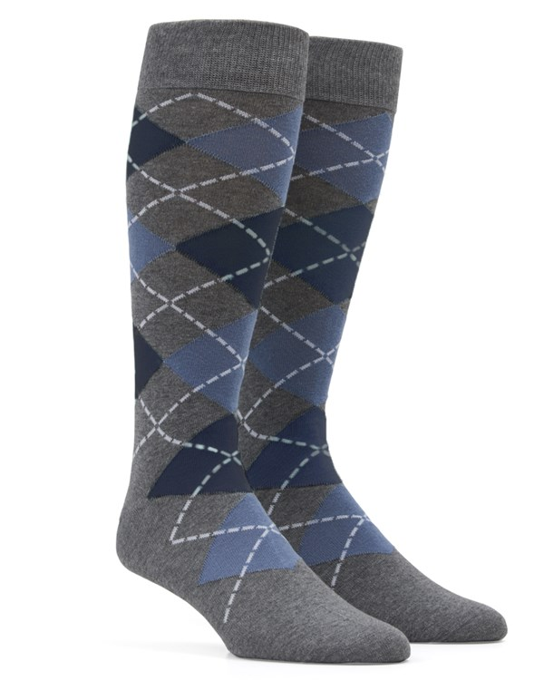 Argyle Slate Blue Socks