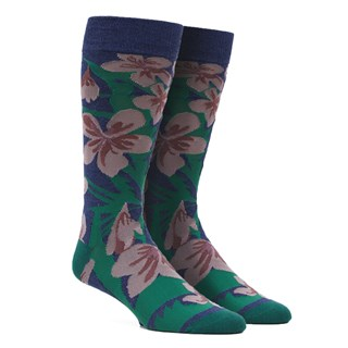 Oversized Tropical Floral Navy Dress Socks
