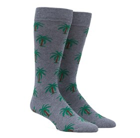 Grey Palm Trees mens socks