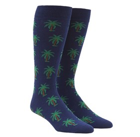 Navy Palm Trees mens socks