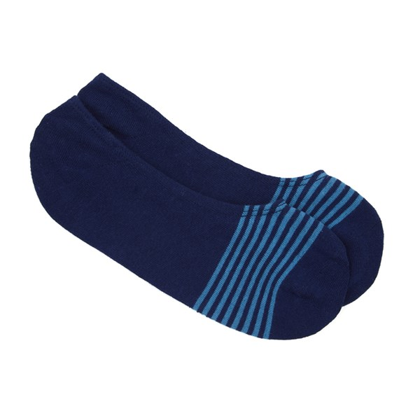 Navy Toe Stripe No-Show Socks