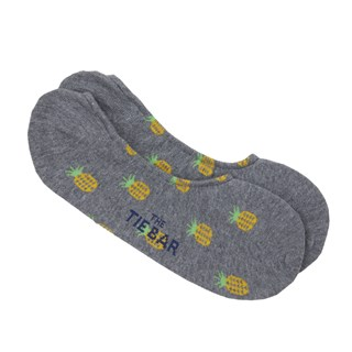 Pineapple No-Show Light Grey Dress Socks