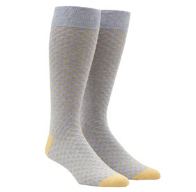 Yellow Pindot mens socks
