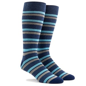 contrast stripe navy dress socks