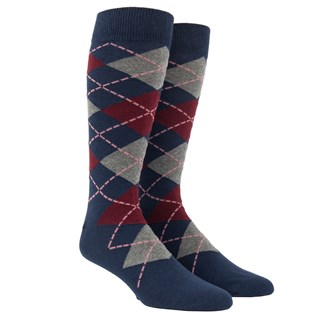 Argyle Deep Burgundy Dress Socks