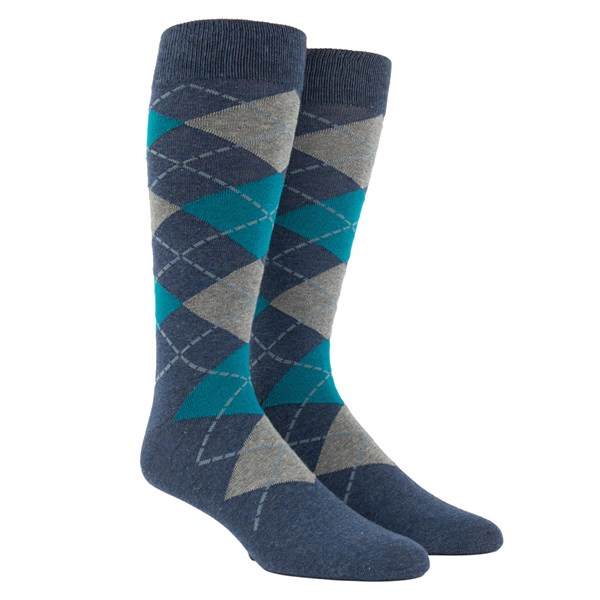 Deep Teal Argyle Socks