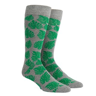 palm leaves grey dress socks