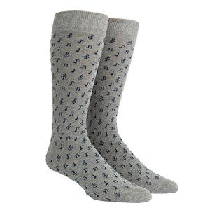 music notes grey dress socks