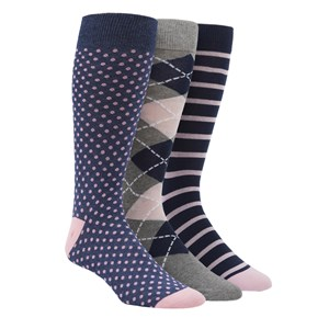 pink and navy sock pack navy dress socks