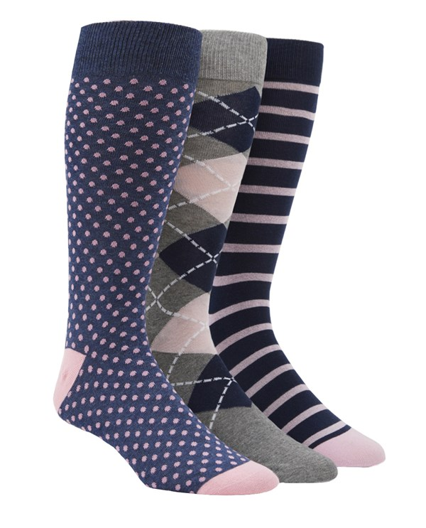 Pink And Navy Sock Pack Dress Socks