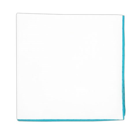 White Cotton With Border Aqua Pocket Square