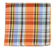 Pocket Squares - DANBURY PLAID - TANGERINE