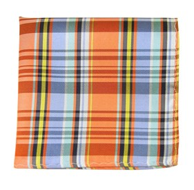 Tangerine Danbury Plaid pocket square