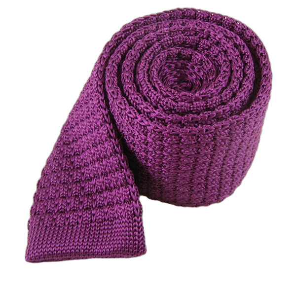 Plum Textured Solid Knit Tie