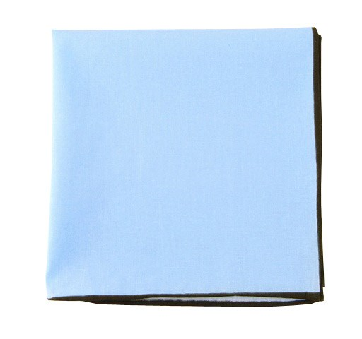 Baby Blue Solid Color Cotton With Border Pocket Square