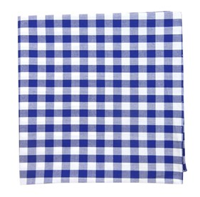 Royal Blue Cotton Table Plaid pocket square