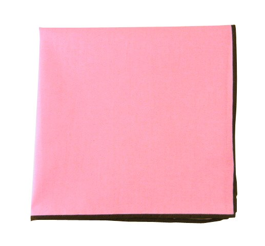 Solid Color Cotton With Border Baby Pink Pocket Square