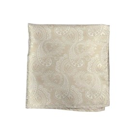 Champagne Twill Paisley pocket square