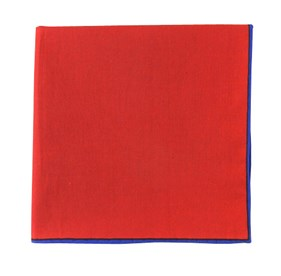 Classic Red Solid Color Cotton With Border pocket square