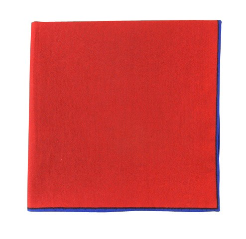 Solid Color Cotton With Border Classic Red Pocket Square