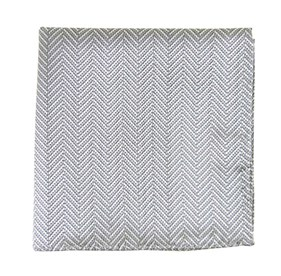 Silver Native Herringbone pocket square