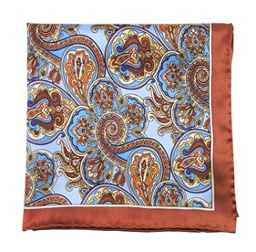 Bolstered Paisley Latte pocket square