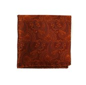 Pocket Squares - TWILL PAISLEY - BURNT ORANGE