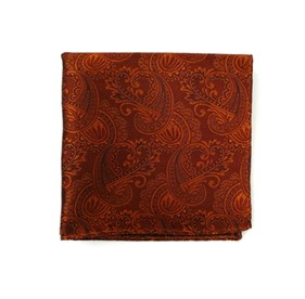 Burnt Orange Twill Paisley pocket square