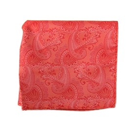 Coral Twill Paisley pocket square