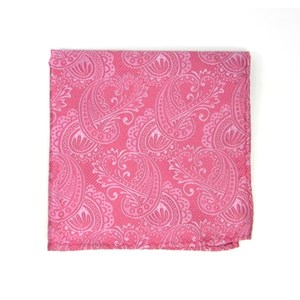 twill paisley pink pocket square