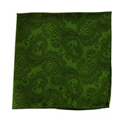 POCKET SQUARES - TWILL PAISLEY - CLOVER GREEN