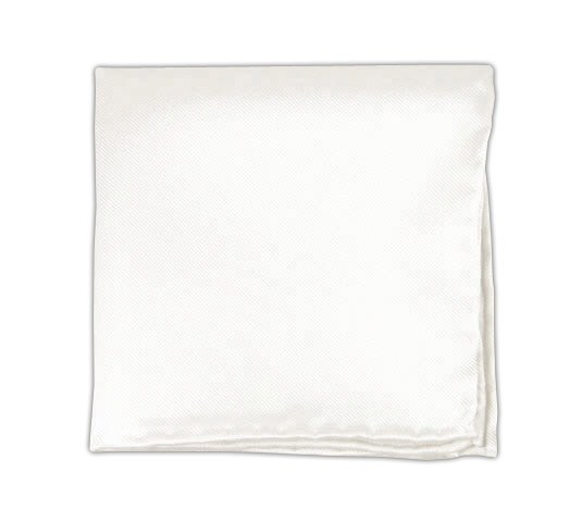 White Solid Twill Pocket Square